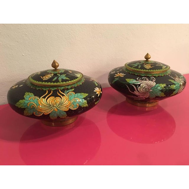Vintage Cloisonné Lidded Jars - A Pair For Sale - Image 9 of 11