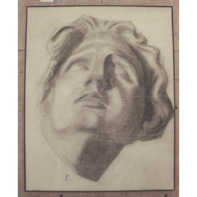 1910 Charcoal Drawing of a Stone Bust - Image 2 of 4