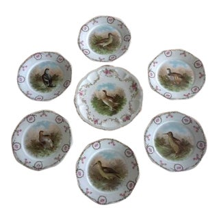 Antique Bavaria Game Plate Set of 7 For Sale