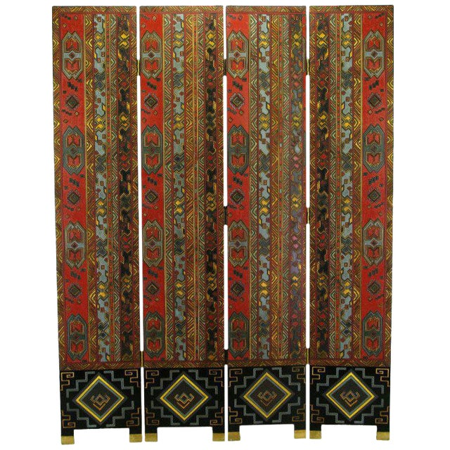 Colorful Carved & Parcel Gilt Art Deco Style Four-Panel Screen For Sale