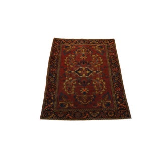 1950s Vintage Persian Sarouk Rug- 3′5″ × 4′5″ For Sale