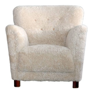 Large-Scale Danish Midcentury Lounge Chair in Beige Sheepskin
