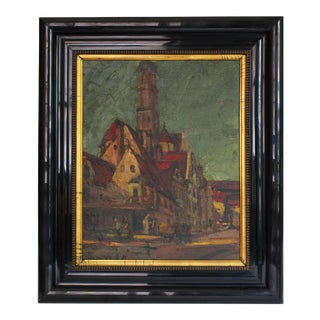 Painting of Village Scene For Sale