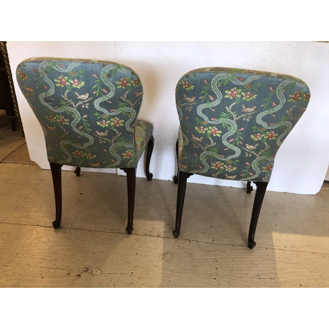 18th Century Georgian Side Chairs Dressed Up in Scalamandre Upholstery -A Pair For Sale - Image 11 of 13