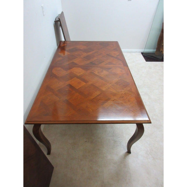 Brown Henredon Country French Parquet Top Carved Banquet Conference / Dining Table For Sale - Image 8 of 11