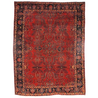 Early 20th Century Antique Sarouk Mohajeran Rug - 10′5″ × 13′7″ For Sale
