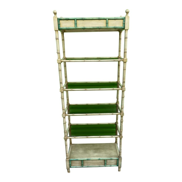 Mid-Century Modern Faux Bamboo Etagere For Sale
