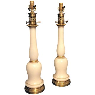 Pair of French Opaline Bronze Column Lamps For Sale
