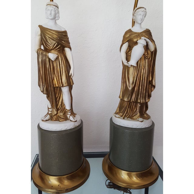 1960 Gilded Bisque Roman Figural Lamps - Pair - Image 4 of 7