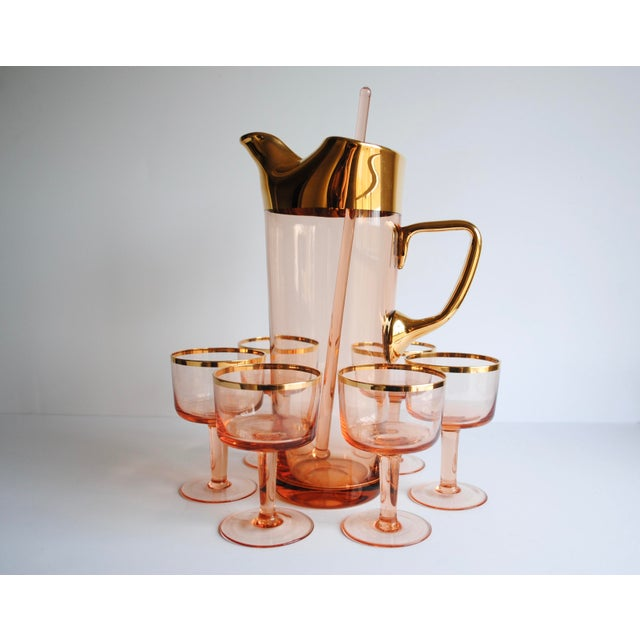 Mid-Century Pink & Gold Cocktail Glasses - Set of 8 - Image 3 of 7
