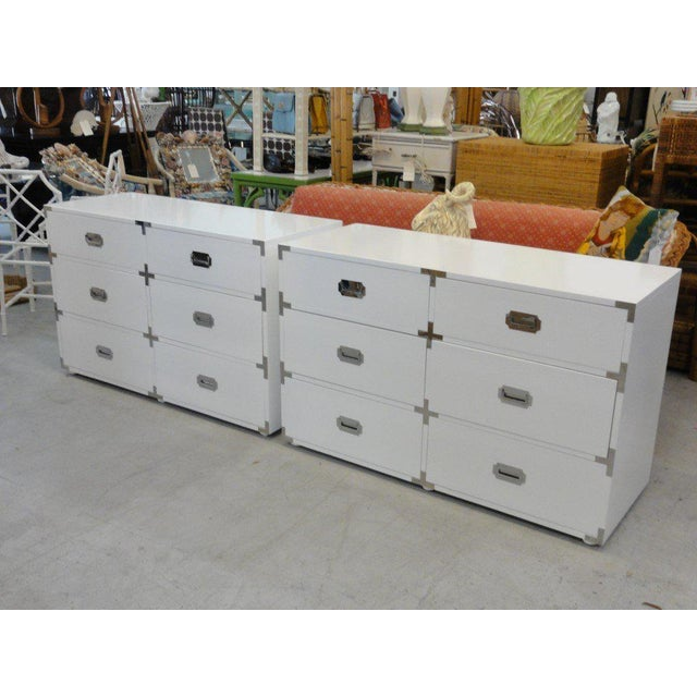 Campaign White Lacquered Campaign Chests - A Pair For Sale - Image 3 of 10