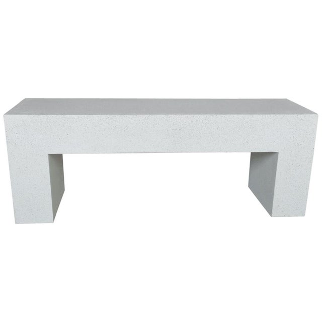 Cast Resin 'Aspen' Bench, White Stone Finish by Zachary A. Design For Sale - Image 10 of 10