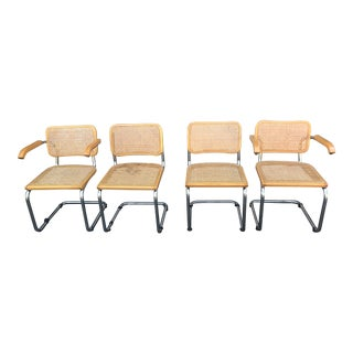 1970s Vintage Marcel Breuer Cane & Chrome Chairs- Set of 4 For Sale