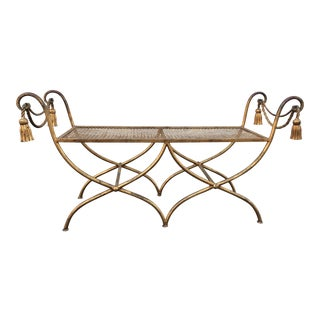 Italian Gilt Metal Rope and Tassel Double X Base Bench For Sale