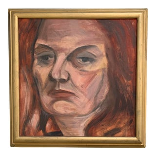 Vintage 1960s Portrait Painting For Sale