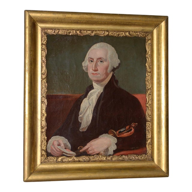 Early 19th Century Portrait of George Washington Oil Painting C.1837 For Sale
