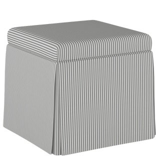 Skirted Storage Ottoman in Oxford Stripe Charcoal