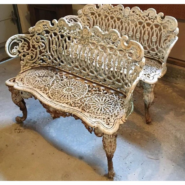 American Victorian Cast Iron Garden Benches - A Pair - Image 3 of 11