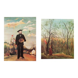 """1966 Henri Rousseau, """"Self-Portrair"""" and """"In a Forest"""" First Edition Lithographs From Milan For Sale"""
