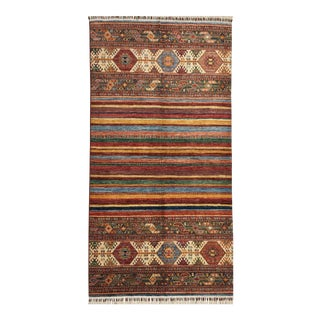 "Traditional Striped Tribal Design Area Rug - 5'7"" X 7'7"" For Sale"