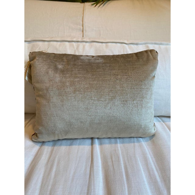 Traditional B. Viz Designs Silvery Gold Metallic Embroidery Pillow For Sale - Image 3 of 4