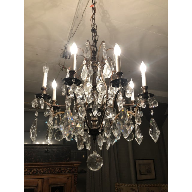 Traditional 1930s Vintage Lead Crystal 8 Light Chandelier For Sale - Image 3 of 12