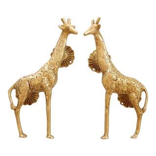 Gold Brass Giraffe Door Handles - a Pair For Sale