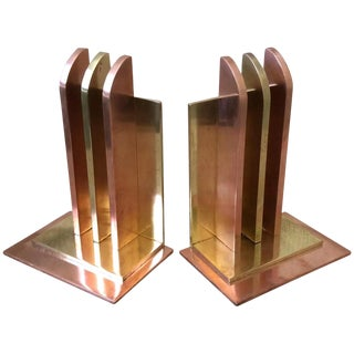 Art Deco Bookends by Walter Von Nessen for Chase Brass, Pair For Sale