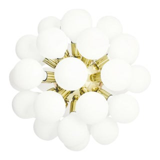 Modern Glass Chandelier in polished brass with 34 white halogen bulbs (width 62cm/24 inches)