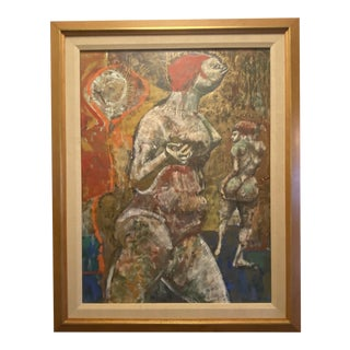 """1959 """"Bathing People"""" Expressionist Figurative Mixed-Media Painting by Jerry Ernst, Framed For Sale"""