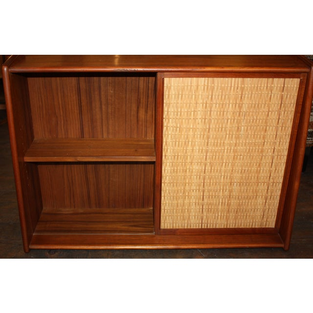 Danish Modern Wall Mounted Teak and Cane Cabinet - Image 4 of 5