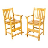 Image of Modern Solid Brid's-Eye Maple High Pool Chairs Bar Stools- A Pair For Sale