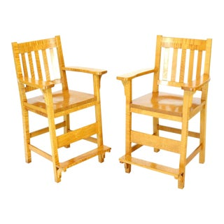 Modern Solid Brid's-Eye Maple High Pool Chairs Bar Stools- A Pair For Sale