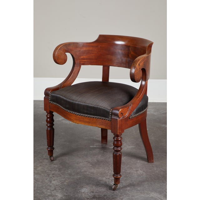 Pair of 19th C. Swedish Mahogany Armchairs For Sale - Image 9 of 10