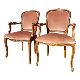 1950s Vintage Victorian Louis XVI Carved Wood Velvet Armchairs - a Pair For Sale