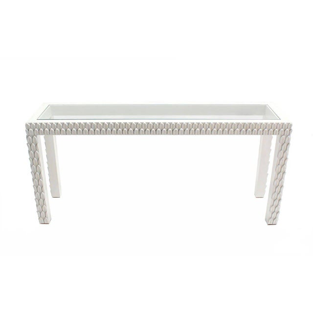 White Pineapple Pattern Carved White Lacquer Console Table For Sale - Image 8 of 9