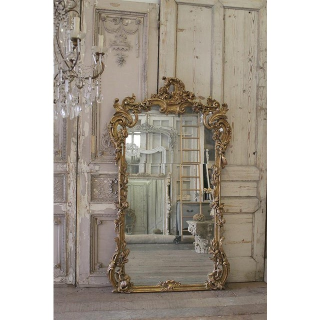 Large decorative mirror with floral vines and scroll motifs. Giltwood, with aged patina. The mirror has an antique quality...