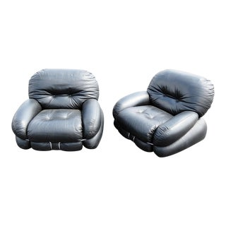 Pair of Italian Mid-Century Modern Leather Club Chairs For Sale