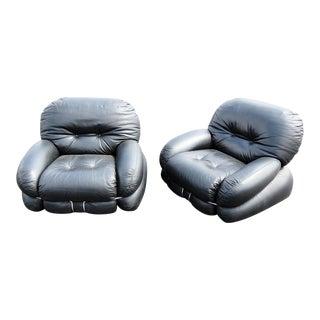 Pair of Italian Mid-Century Modern Leather Club Chairs