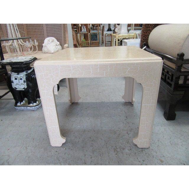 Baker Flirty White Crackle Finish Side Table - Image 6 of 7