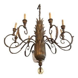 Contemporary Large Gilded 9 Arm Chandelier For Sale