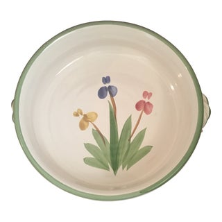 Vintage Mayking Creek Pottery Iris Series Round Casserole Dish For Sale