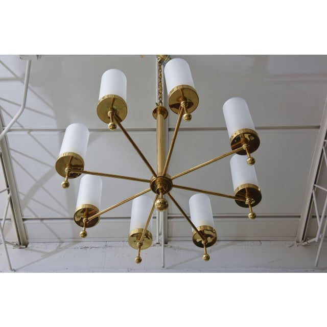 Italian Modern Brass and Glass Eight-Light Chandelier in the Manner of Stilnovo For Sale In Miami - Image 6 of 9