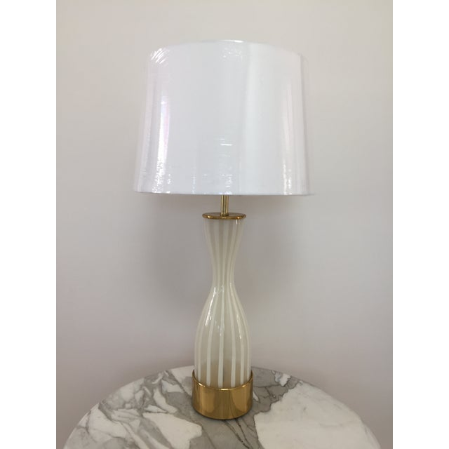 Brass Italian Modern Glass and Brass Table Lamp For Sale - Image 7 of 8