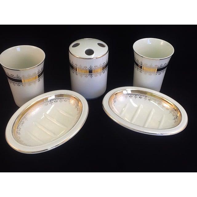 Vintage Japanese Porcelain Bath Set - 5 Pieces - Image 3 of 7