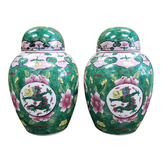 C. 1880 Chinese Famille Verte Porcelain Enameled Floral/Dragon Motif Ginger Jars - a Pair For Sale