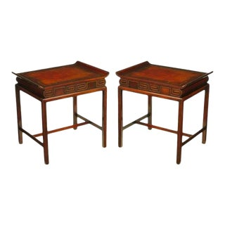 Pair of Curved Mahogany and Leather Top End Tables with Greek Key Reliefs For Sale