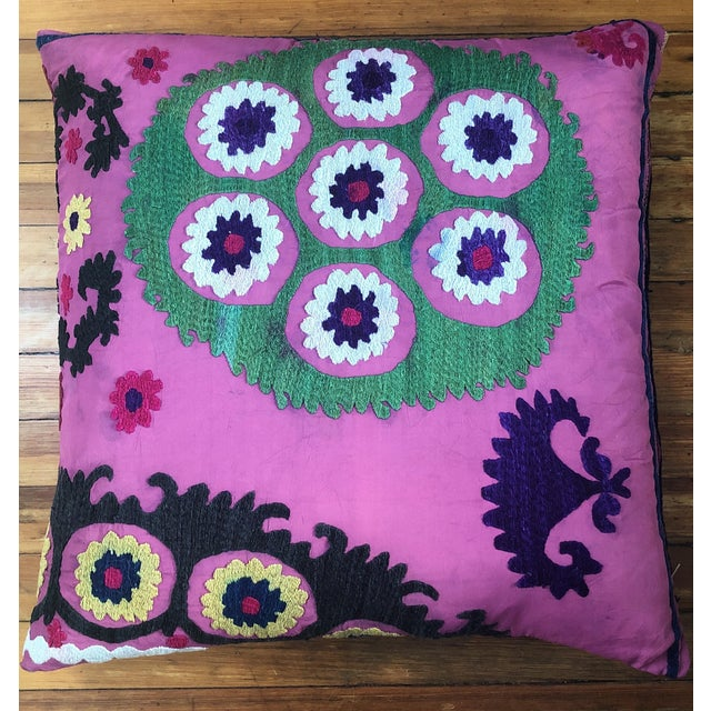 Exquisite vintage embroidered purple suzani pillows. Made in the late 20th century. Fashioned From a Vintage Uzbek Suzani.