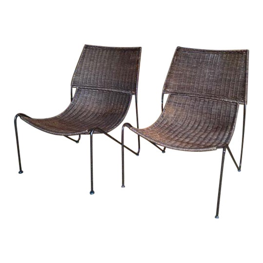 Scoop Form Rattan Lounge Chairs in the Manner of Frederick Weinberg - a Pair For Sale