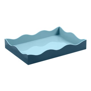 The Lacquer Company for Chairish Belle Rives Tray in Marine Blue / Bluebird, Medium For Sale